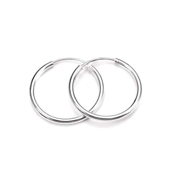 Sterling Silver 25mm Hoop Earrings with 2mm Tube
