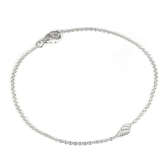 Sterling Silver 7 Inch Fine Belcher Bracelet with Angel Wing Charm & Clasp