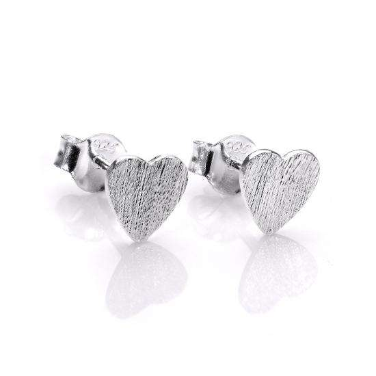 Sterling Silver Brushed Flat Heart Stud Earrings