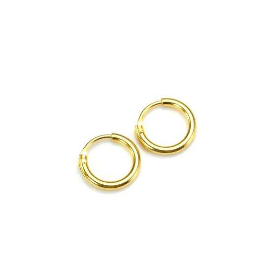 Gold Plated Sterling Silver 8mm Hoop Sleeper Earrings