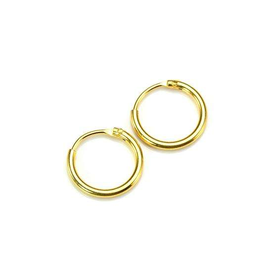 Gold Plated Sterling Silver 10mm Hoop Sleeper Earrings