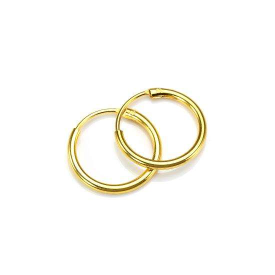 Gold Plated Sterling Silver 12mm Hoop Sleeper Earrings