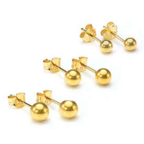 Gold Plated Small Sterling Silver Ball Stud Earrings Set - 4mm 5mm 6mm