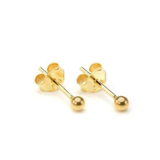 Gold Plated Small 2mm Sterling Silver Ball Stud Earrings