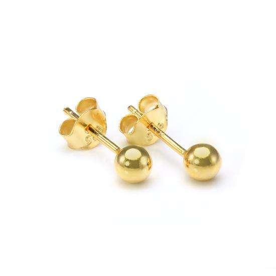 Gold Plated Small 4mm Sterling Silver Ball Stud Earrings