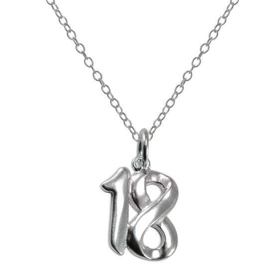 Sterling Silver 18th Birthday Number Pendant Necklace 14 - 22 Inches