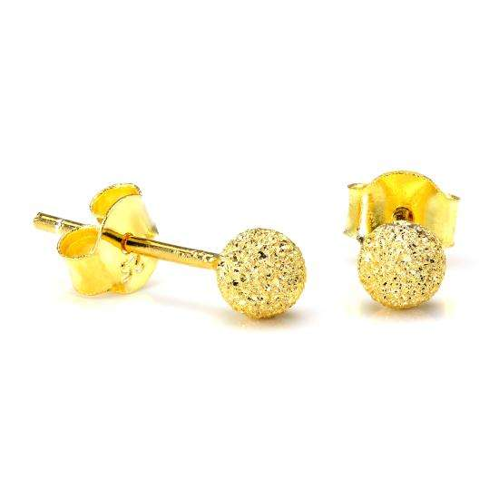 Gold Plated Sterling Silver Frost 4mm Ball Stud Earrings