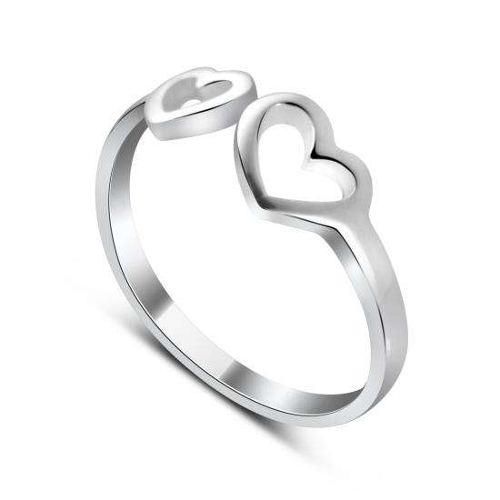 Sterling Silver Adjustable Double Open Heart Midi Ring
