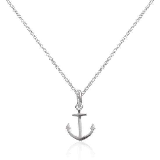 Sterling Silver Anchor Pendant Necklace 16 - 22 Inches