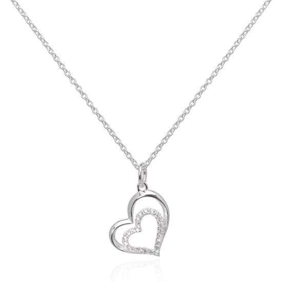 Sterling Silver & CZ Crystal Double Open Heart Pendant Necklace 16 - 22 Inches