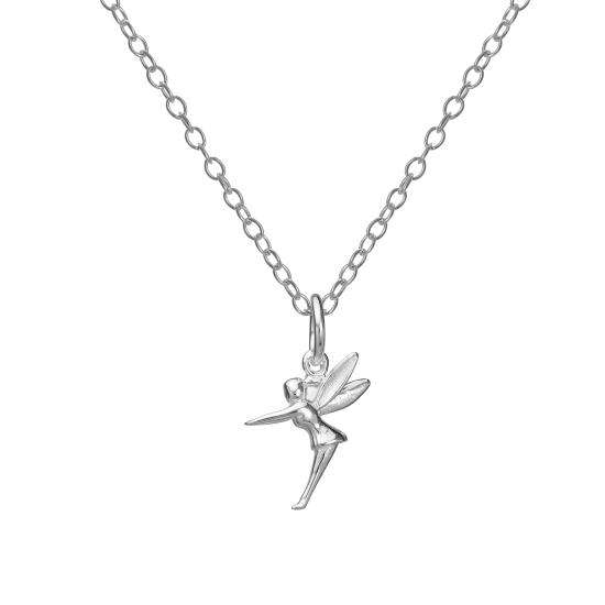 Sterling Silver Winged Fairy Pendant Necklace 14 - 22 Inches
