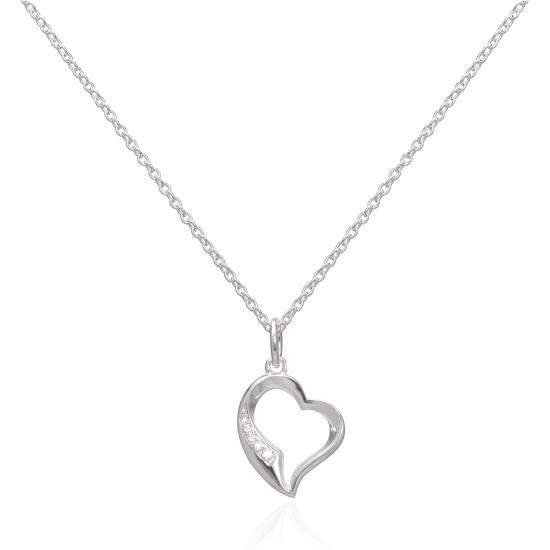 Sterling Silver & CZ Crystal Open Heart Pendant Necklace 16 - 22 Inches