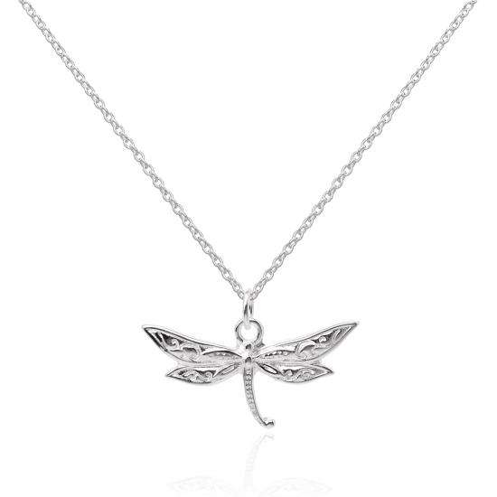 Large Sterling Silver Dragonfly Pendant Necklace 16 - 22 Inches