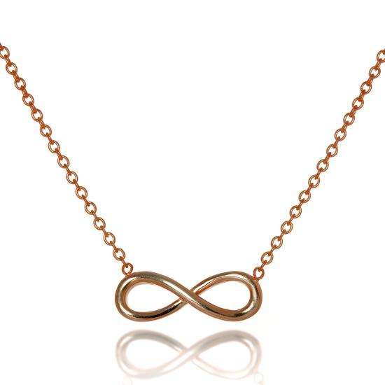 Rose Gold Plated Sterling Silver Infinity Necklace 16-18 Inch Chain