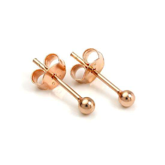 Rose Gold Plated Sterling Silver 2mm Ball Stud Earrings