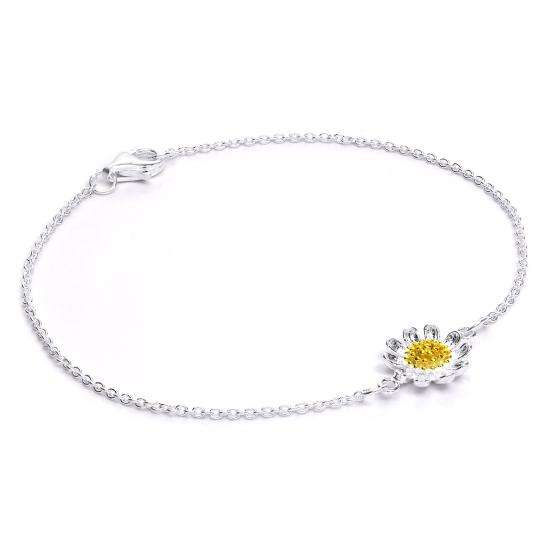 Sterling Silver & Gold Dipped Daisy Flower Bracelet 7 Inches