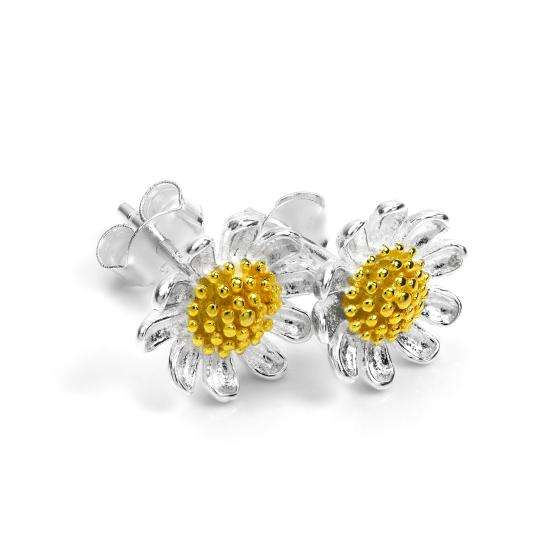 Sterling Silver & Gold Plated Daisy Flower Stud Earrings
