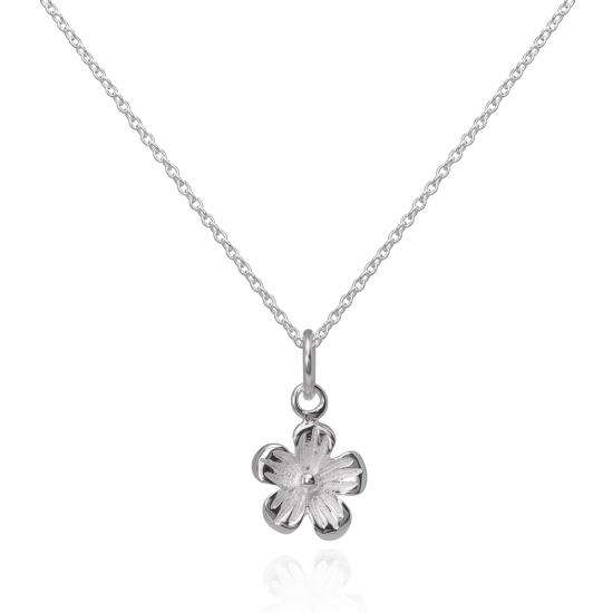 Simple Sterling Silver Flower Pendant Necklace 16 - 22 Inches