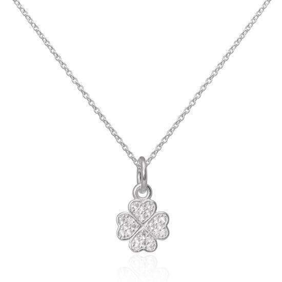 CZ Crystal Encrusted Sterling Silver Lucky 4 Leaf Clover Pendant 16 - 22 Inches
