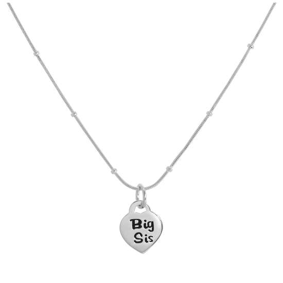 Sterling Silver Big Sister Heart Pendant Necklace 16 - 24 Inches