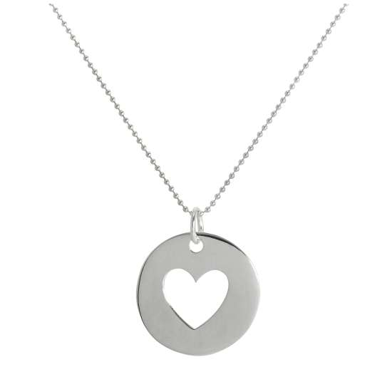 Large Sterling Silver Cut Out Heart Disc Pendant Necklace 14 - 22 Inches