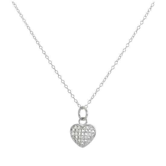 Sterling Silver & CZ Crystal Encrusted Heart Pendant Necklace 14 - 32 Inches