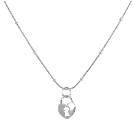 Sterling Silver Heart Padlock Pendant Necklace 16 - 22 Inches