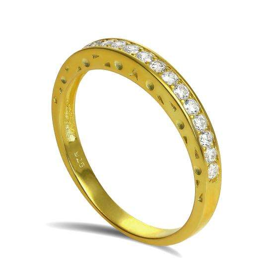 Gold Plated Sterling Silver CZ Crystal Half Eternity Ring Size I - U