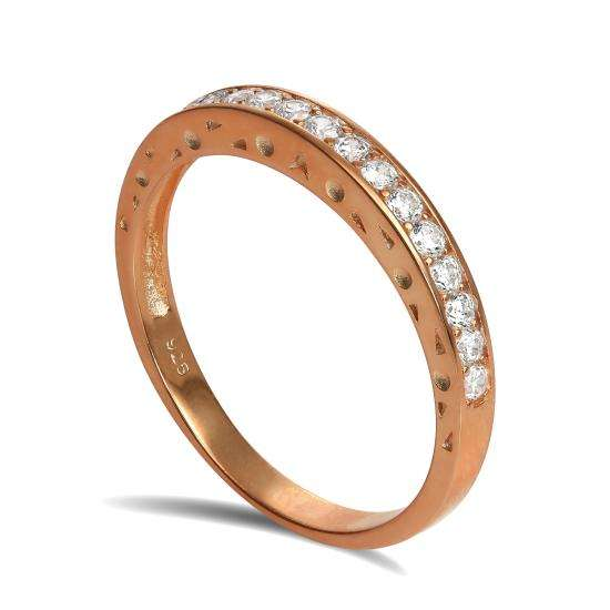 Rose Gold Plated Sterling Silver CZ Crystal Half Eternity Ring Size I - U