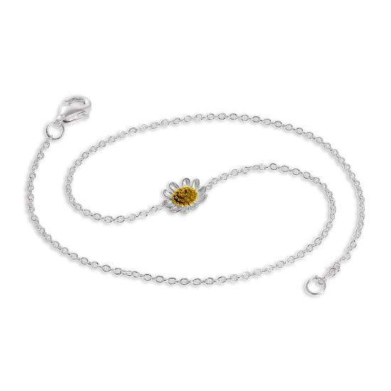 Sterling Silver Daisy Anklet