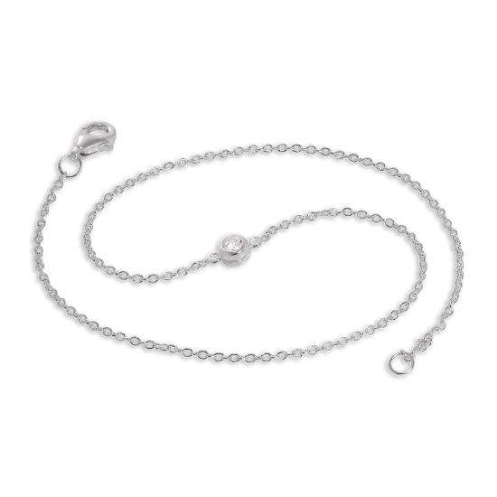 Sterling Silver & 5mm Round CZ Crystal Anklet