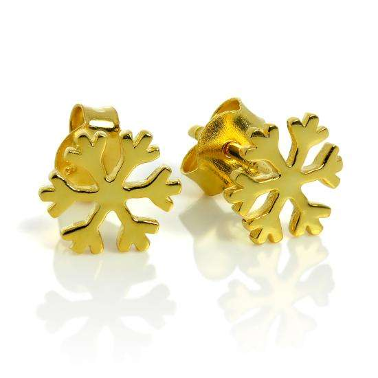 Yellow Gold Plated Sterling Silver Snowflake Stud Earrings