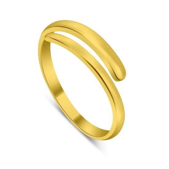 Gold Plated Sterling Silver Plain Adjustable 2mm Band Midi Toe Ring