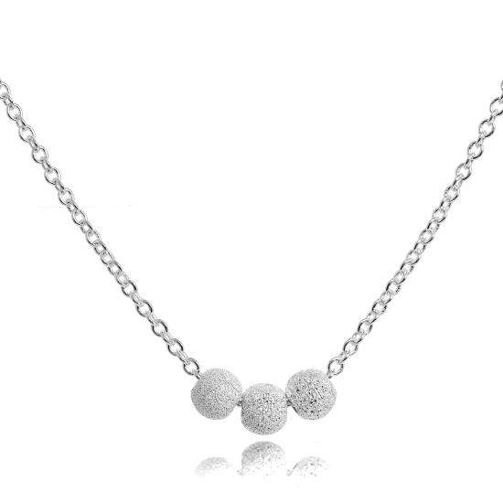 Sterling Silver Triple Snowball 18 Inch Necklace