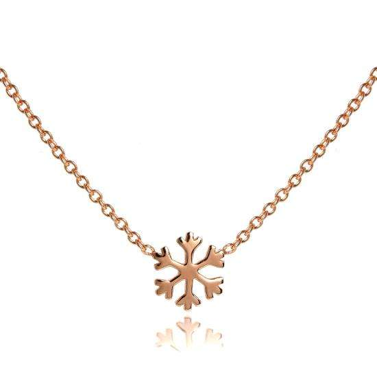 Rose Gold Plated Sterling Silver 18 Inch Snowflake Necklace