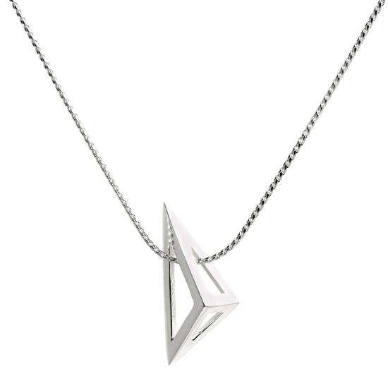 Sterling Silver Open Triangle Necklace on Foxtail Chain