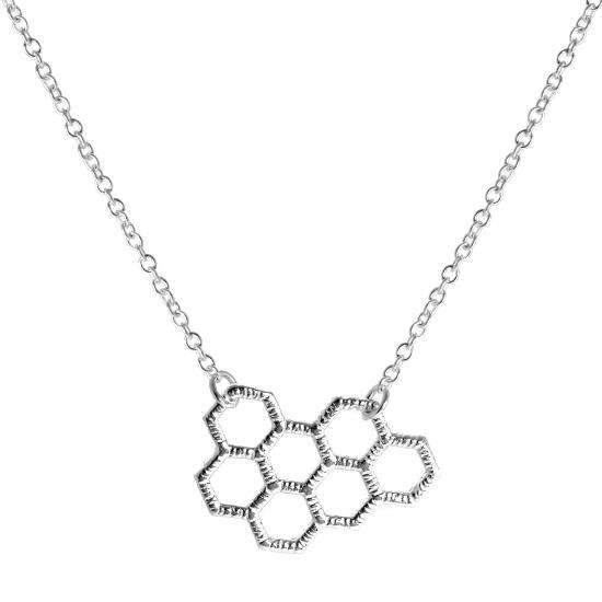 Sterling Silver Honeycomb 18 Inch Necklace with Extender Chain