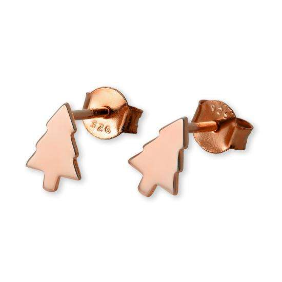 Rose Gold Plated Sterling Silver Christmas Tree Stud Earrings