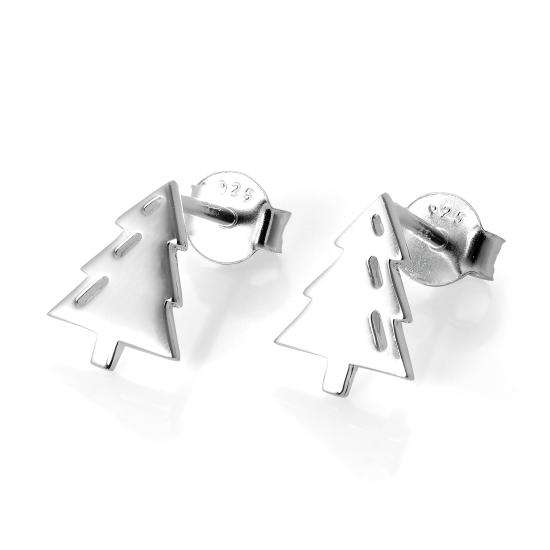Sterling Silver Christmas Tree Stud Earrings