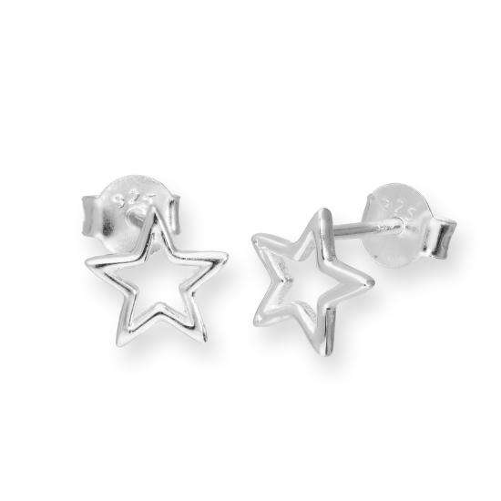 Sterling Silver Open Star Stud Earrings