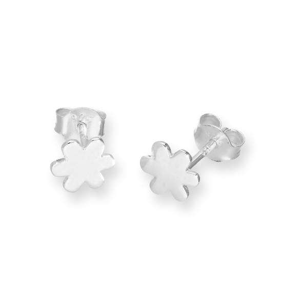 Sterling Silver Plain Flower Stud Earrings