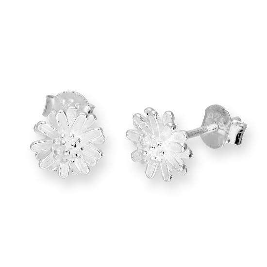 Sterling Silver Flower Head Stud Earrings