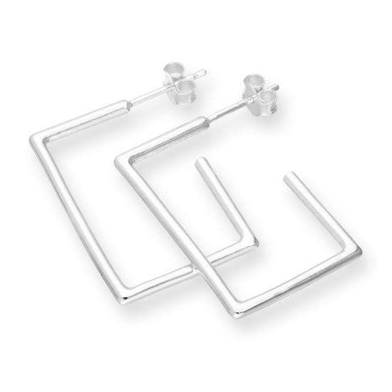 Sterling Silver Square Open Hoop Stud Earrings