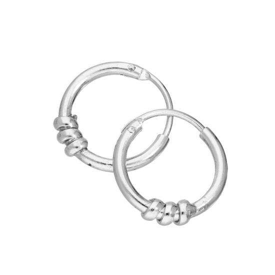 Sterling Silver 10mm Twisted Rope Sleeper Hoop Earrings