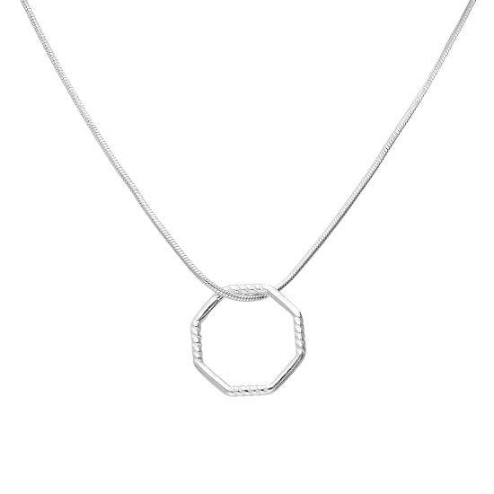 Sterling Silver Open Floating Octagon Pendant Necklace
