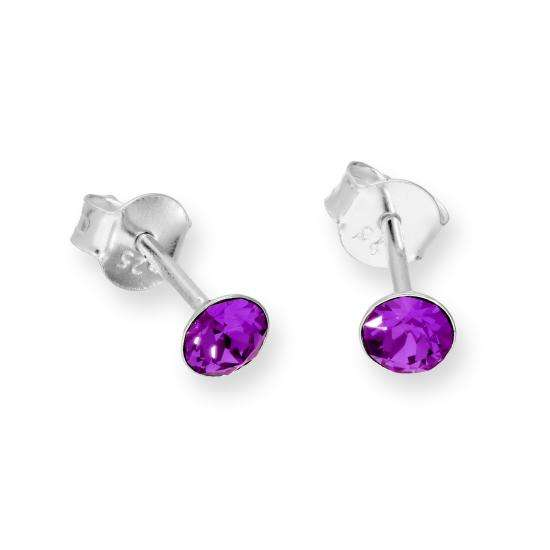 Sterling Silver & Amethyst Crystal Made with Swarovski Elements Birthstone Stud Earrings