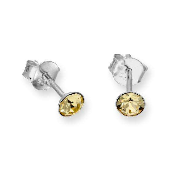Sterling Silver & Citrine Crystal Made with Swarovski Elements Birthstone Stud Earrings