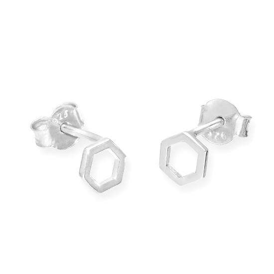 Sterling Silver Hexagon Outline Stud Earrings