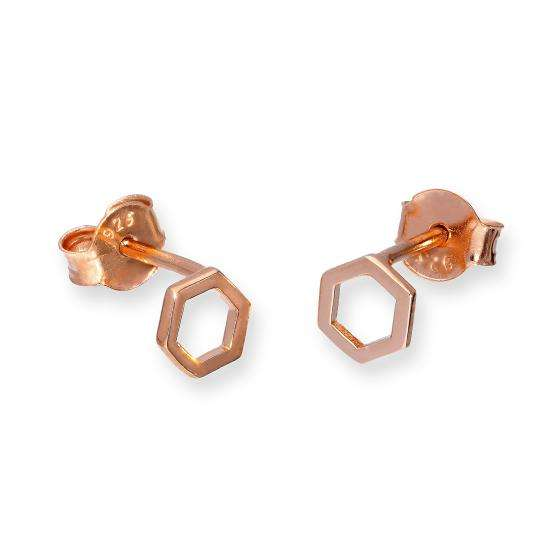 Rose Gold Plated Sterling Silver Hexagon Outline Stud Earrings