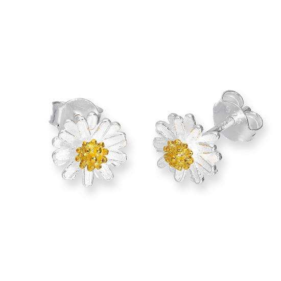 Gold Plated Sterling Silver Daisy Stud Earrings